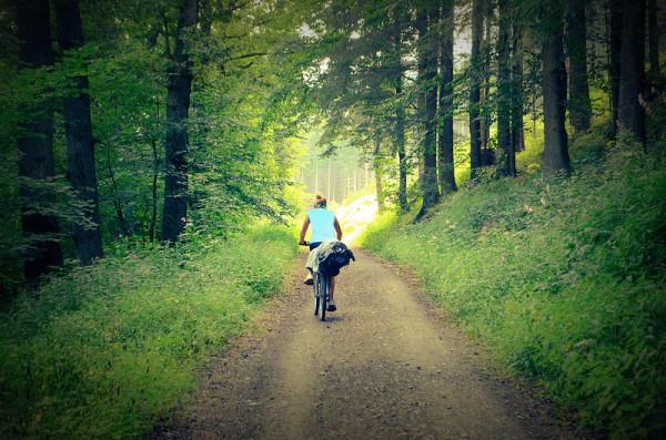 Femeie singura cu bicicleta in padure, Foto: thevegetariantraveller.com