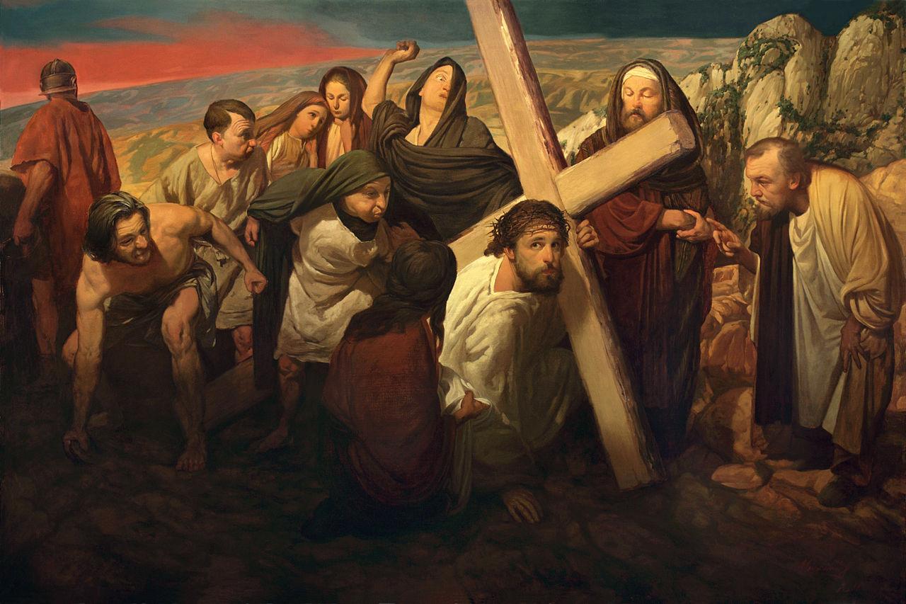 Iisus ducand o cruce